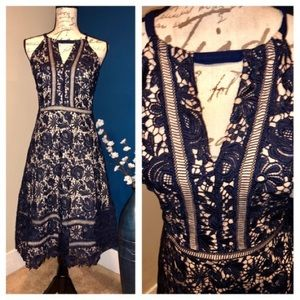 International Concepts navy & nude lace dress NWT